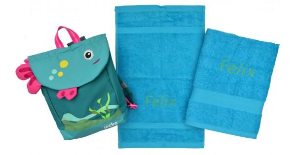 Zwemset met rugzakje Jocko visje (kleur handdoeken naar keuze)