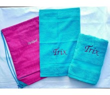 Zwemset Kickers Roze-Turkoois (kleur handdoeken naar keuze)